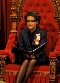 Her Excellency the Right Honourable Michaëlle Jean, Governor General of Canada delivered the Speech from the Throne on January 26. 2009.